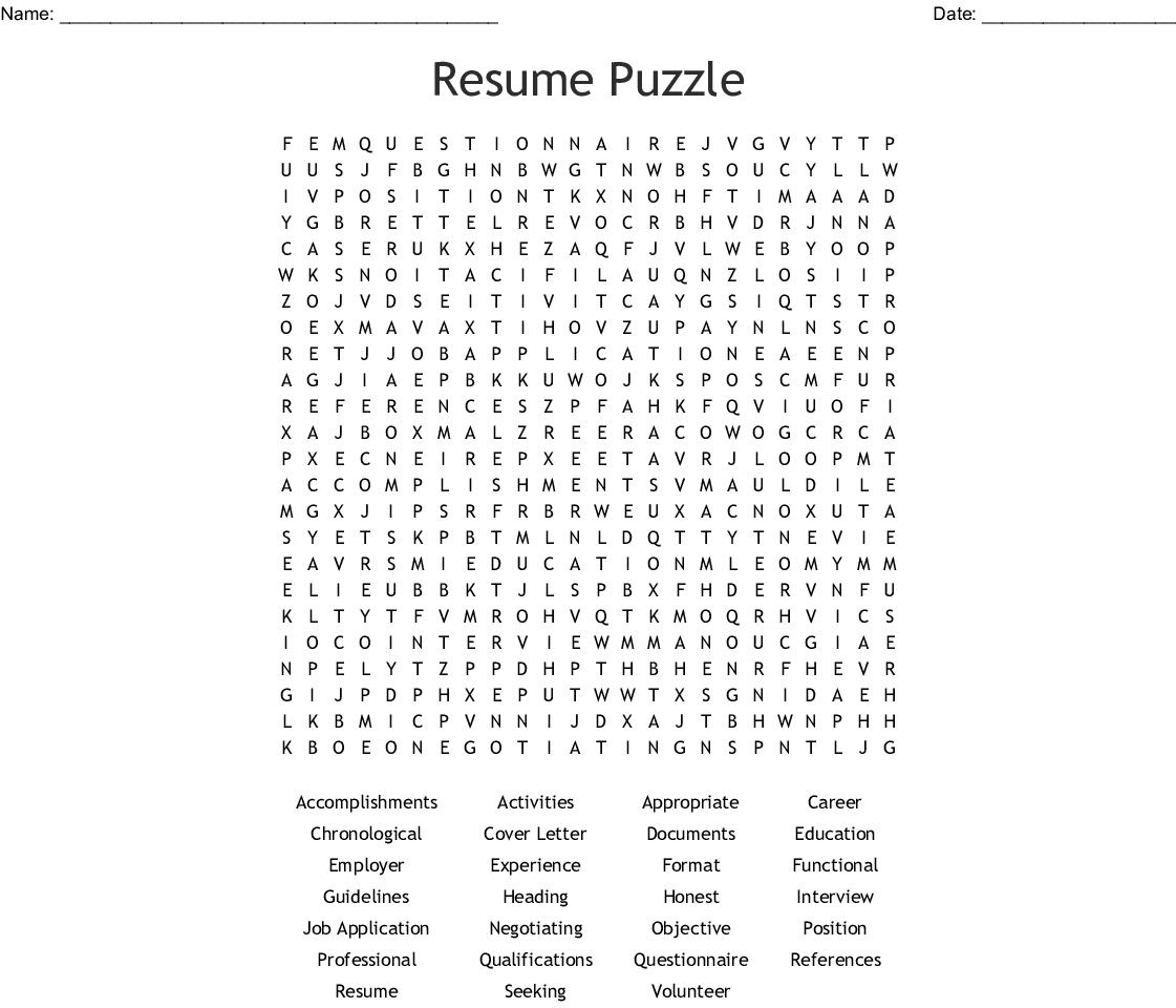 Resume Puzzle Word Search - Wordmint - Create A Wordsearch Puzzle For Free Printable