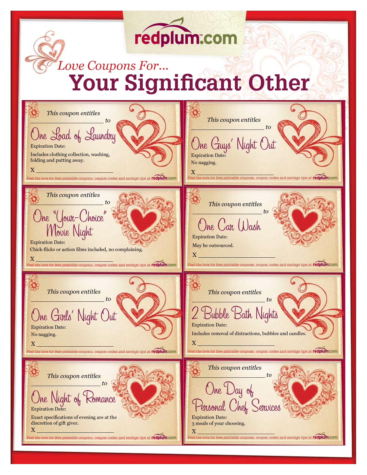 Romantic Love Coupon Template Printable | Love Coupons For Your - Free Printable Coupons For Husband