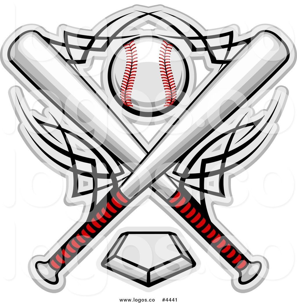 Royalty Free Bats And A Baseball Over A Home Plate Logo   Baseball - Free Printable Baseball Logos