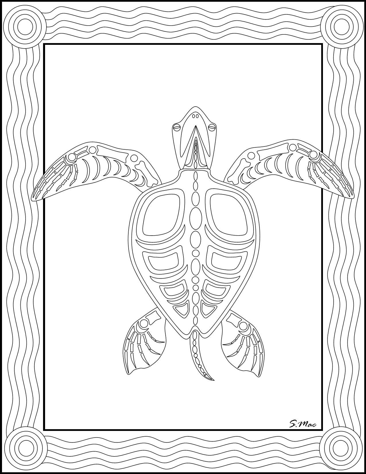 S.mac's Sea Turtle X-Ray Art Coloring Page   Art- Coloring Therapy - Free Printable Aboriginal Colouring Pages