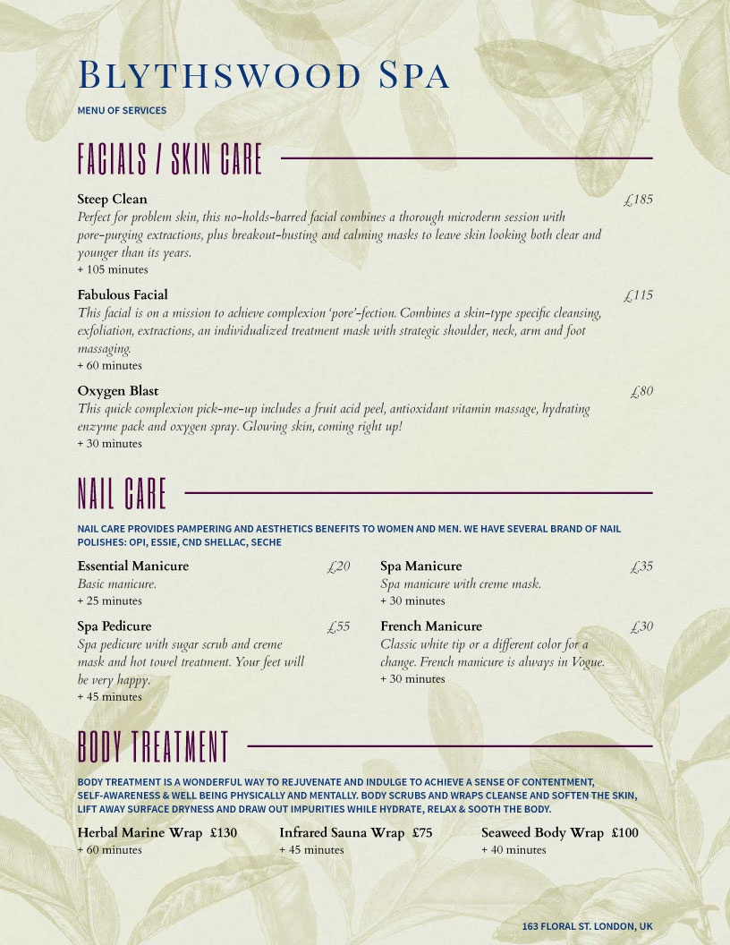 Salon Menu Templates From Imenupro - Free Online Printable Menu Maker