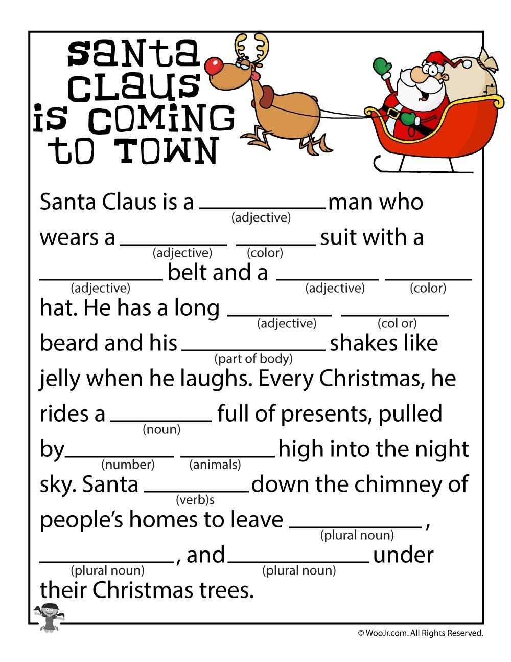 Santa Claus Is Coming To Town Mad Libs | Grandkids | Christmas - Christmas Mad Libs Printable Free