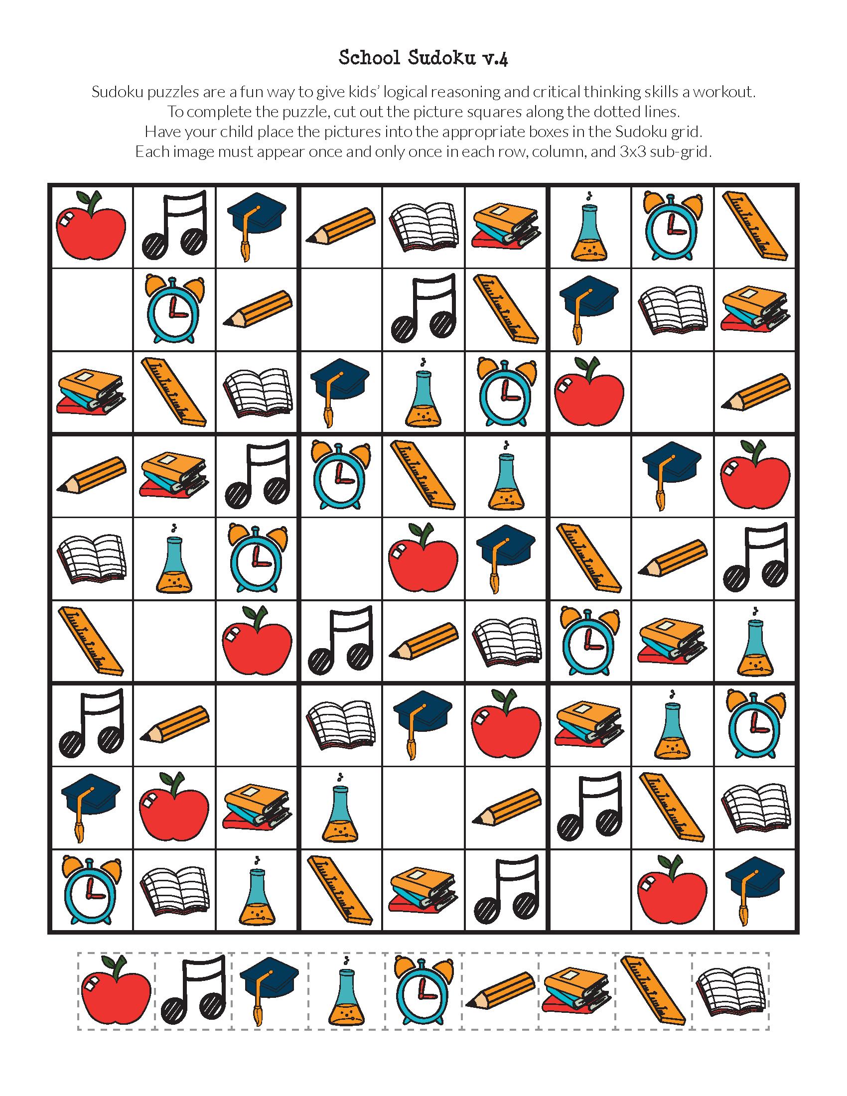 School Sudoku Puzzles {Free Printables}   Sudoku   Sudoku Puzzles - Free Printable Critical Thinking Puzzles