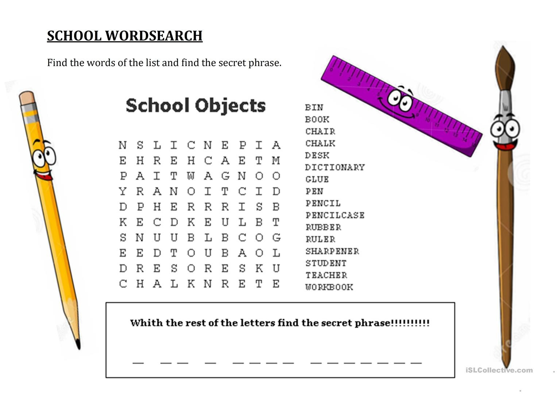 School Wordsearch - Hidden Message Worksheet - Free Esl Printable - Free Word Search With Hidden Message Printable