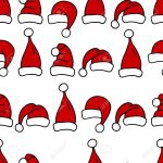Seamless Pattern With Christmas Hats. Red Santa Hats For Textile   Free Printable Santa Hat Patterns