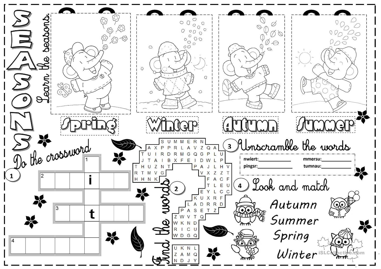 Seasons Worksheet - Free Esl Printable Worksheets Madeteachers - Free Printable Seasons Worksheets For Kindergarten