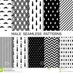 Set Of Printable Vector Male Seamless Patterns. Black And White   Free Printable Wallpaper Patterns