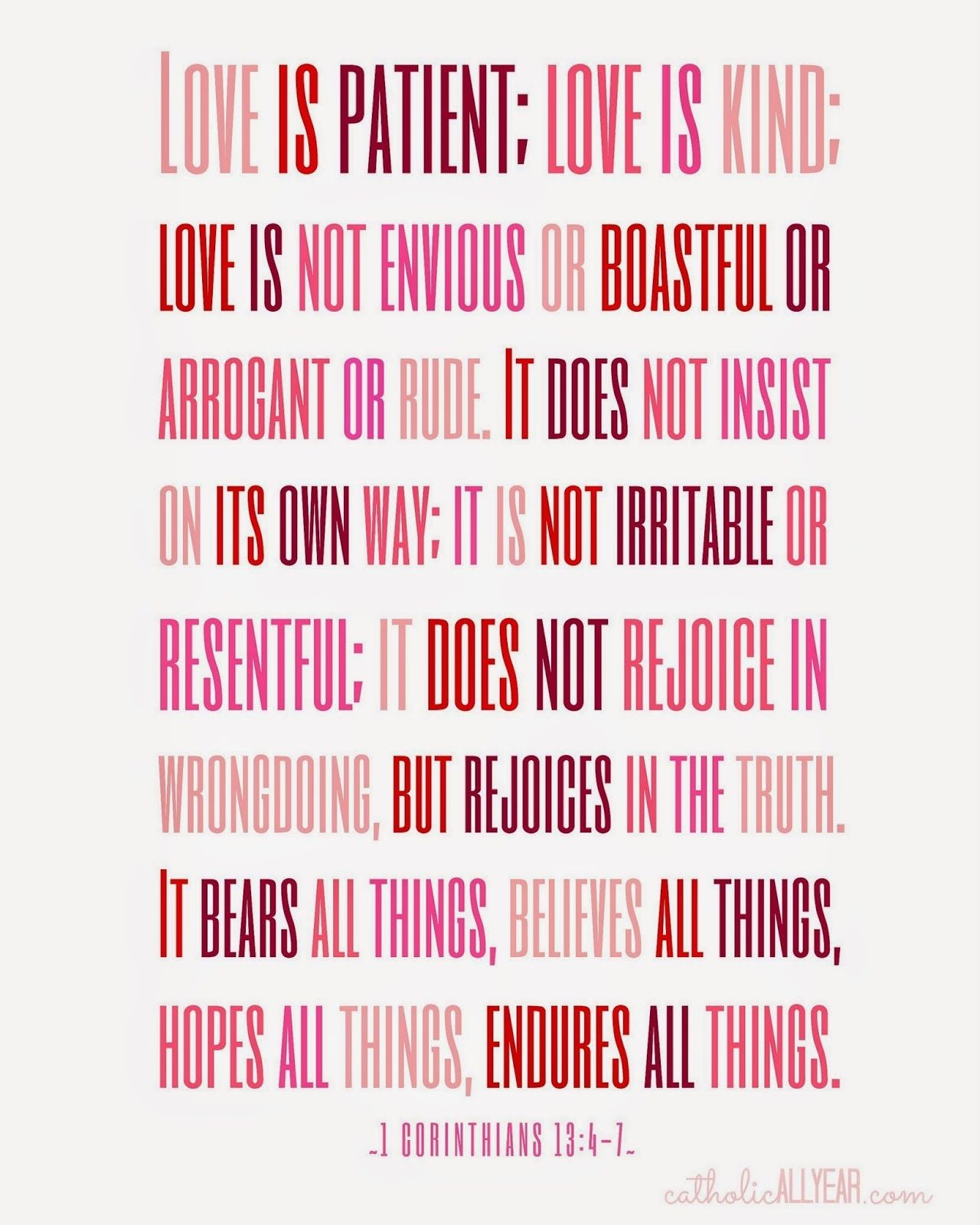 Seven Free Printable Catholic Valentines | Printable Prayers - Love Is Patient Free Printable