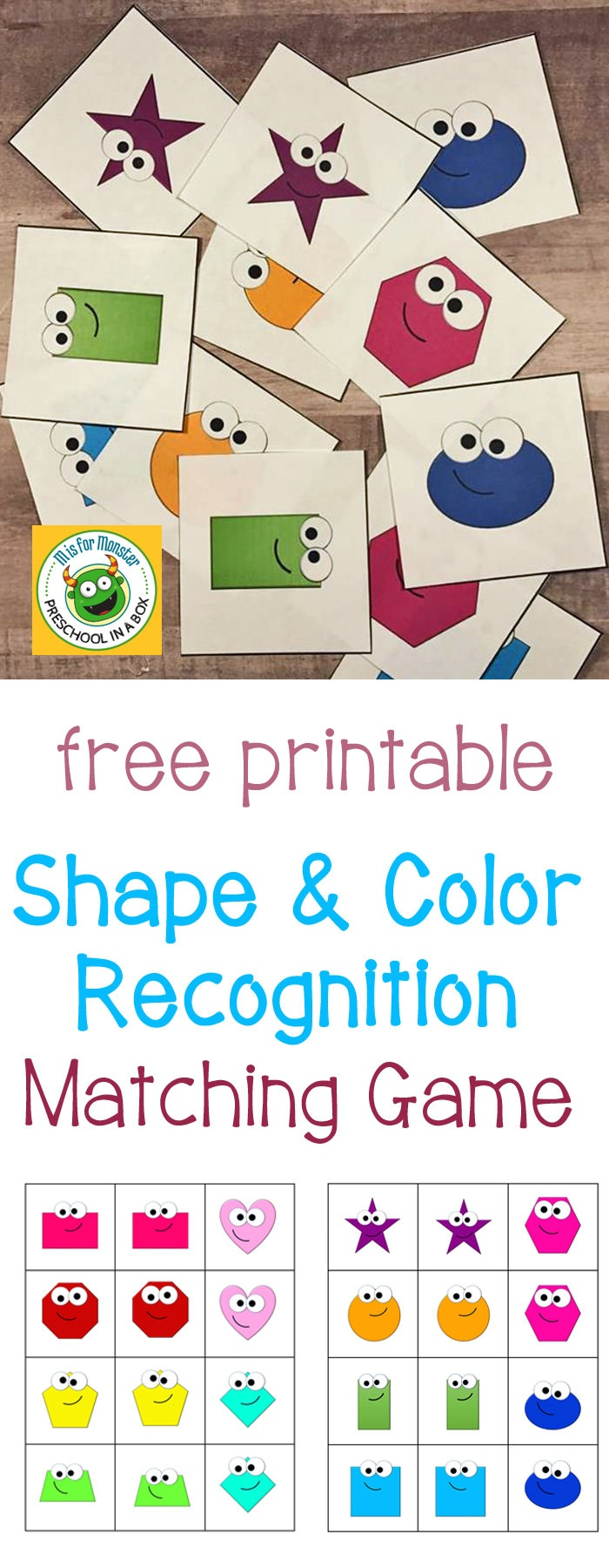 Shape And Color Recognition Matching Game Free Printable - Free Printable Matching Cards