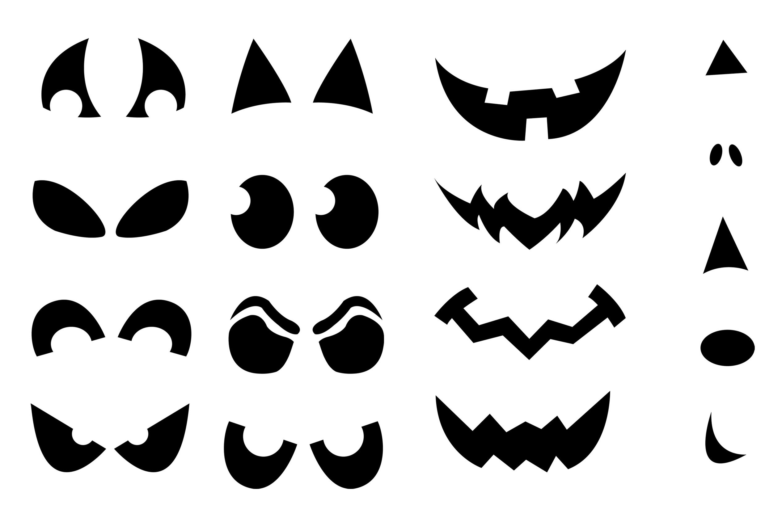 Shapes For Ghost Eye Cutouts | After The Face Is Picked Out Cut Out - Free Printable Scary Pumpkin Patterns