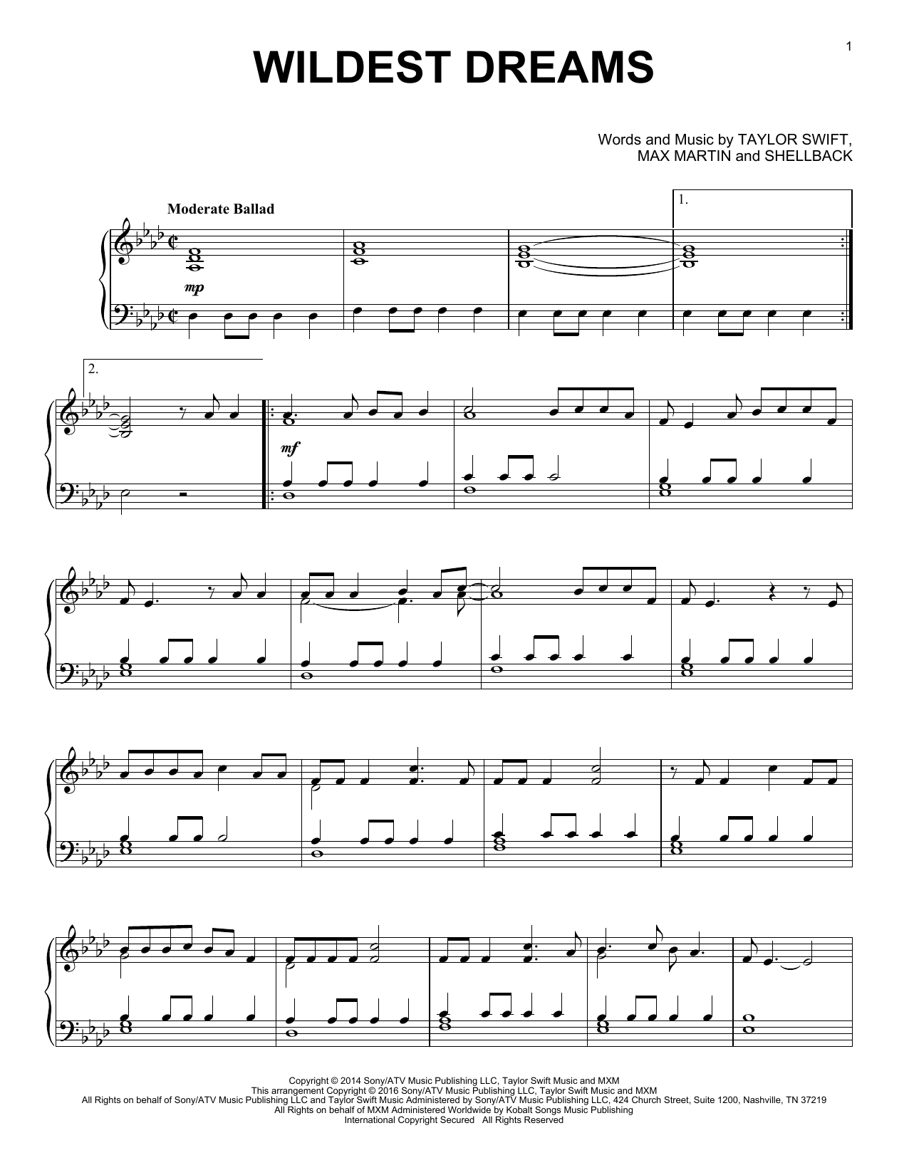 Should've Said Notaylor Swift - Hal Leonard - Prima Music - Taylor Swift Mine Piano Sheet Music Free Printable