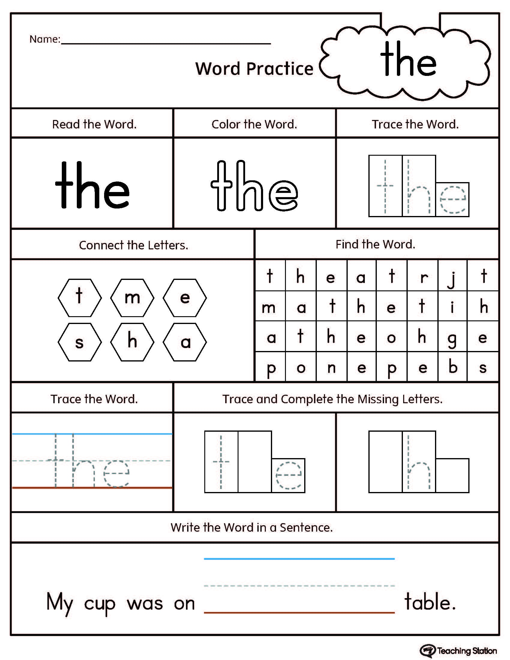 Sight Word The Printable Worksheet | Myteachingstation - Free Printable Sight Word Worksheets