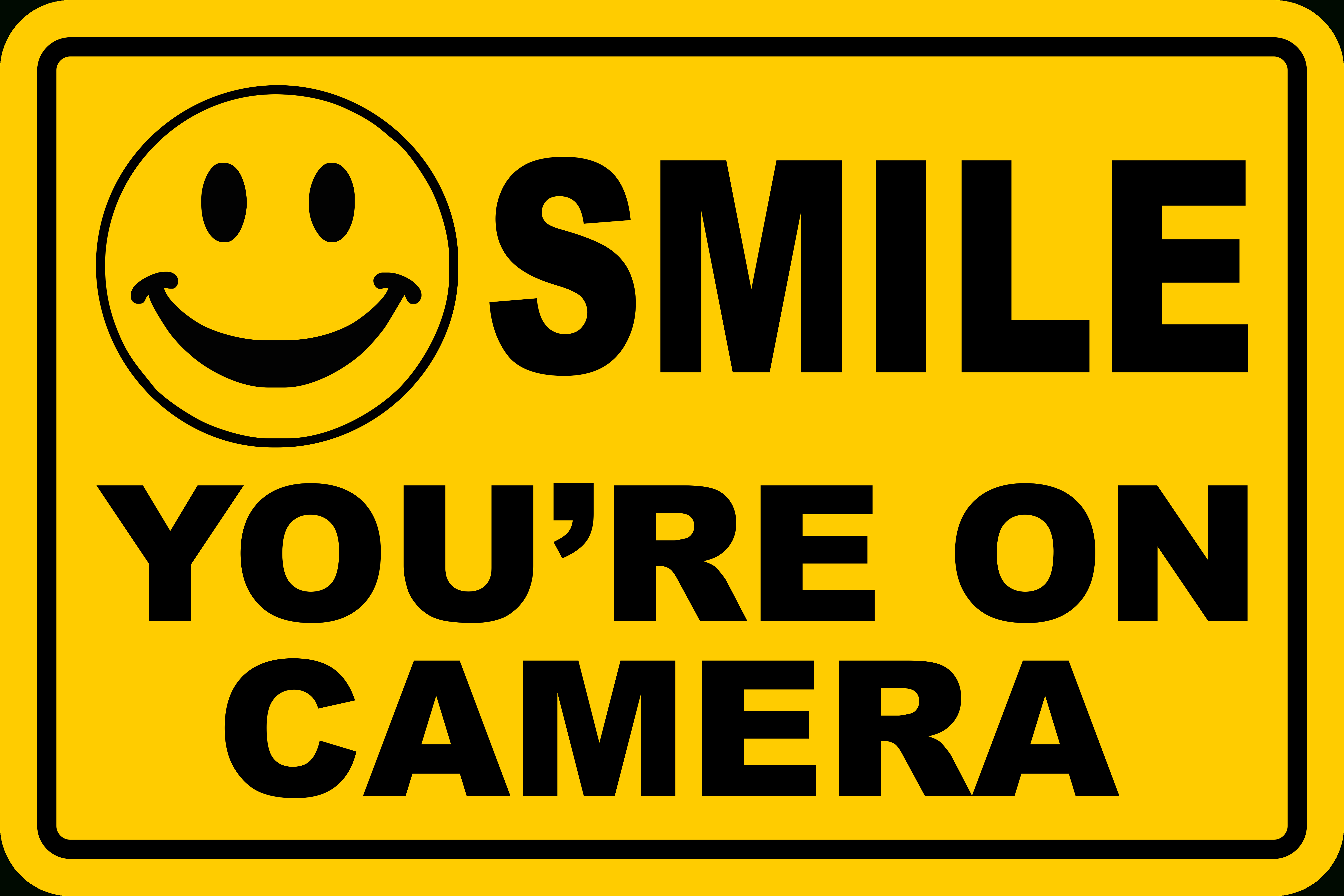 Smile You're On Camera Yellow Business Security Sign Cctv Video - Free Printable Smile Your On Camera