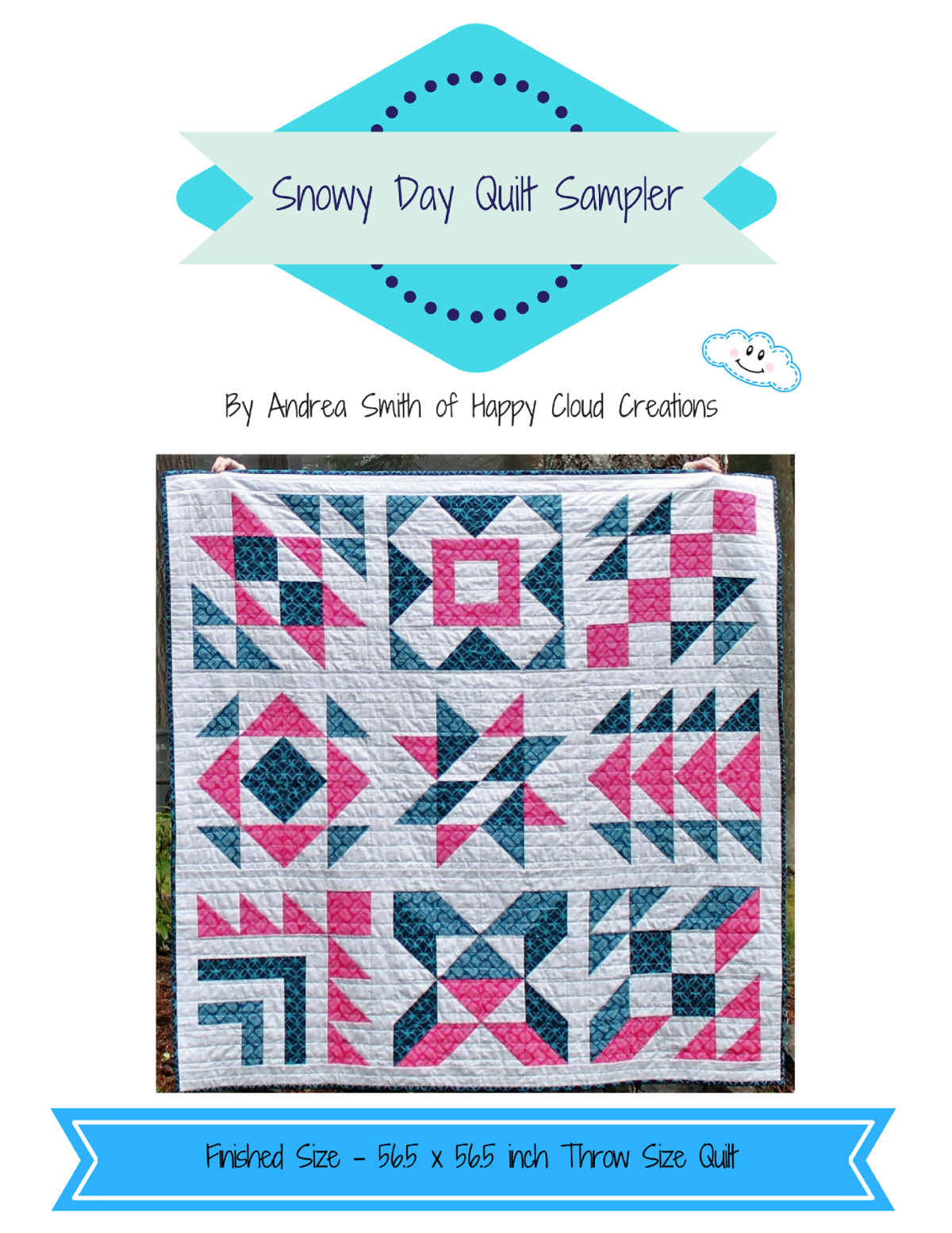 Snowy Day Quilt Sampler - Throw Size | Happy Cloud Creations - Printable Thangles Free