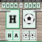 Soccer Party Banner Template | Happy Birthday Banner | Editable Bunting   Free Printable Soccer Birthday Invitations