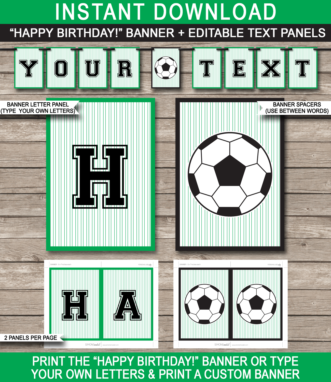 Soccer Party Banner Template | Happy Birthday Banner | Editable Bunting - Free Printable Soccer Birthday Invitations