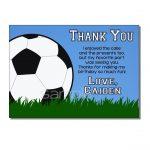 Soccer Thank You Card Birthday Party Digital Or Printed | Etsy   Free Printable Soccer Thank You Cards