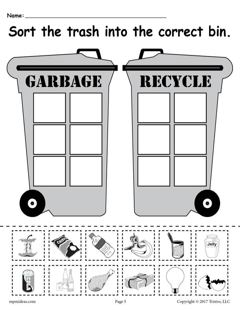 Sorting Trash - Earth Day Recycling Worksheets (4 Free Printable - Free Printable Recycling Worksheets