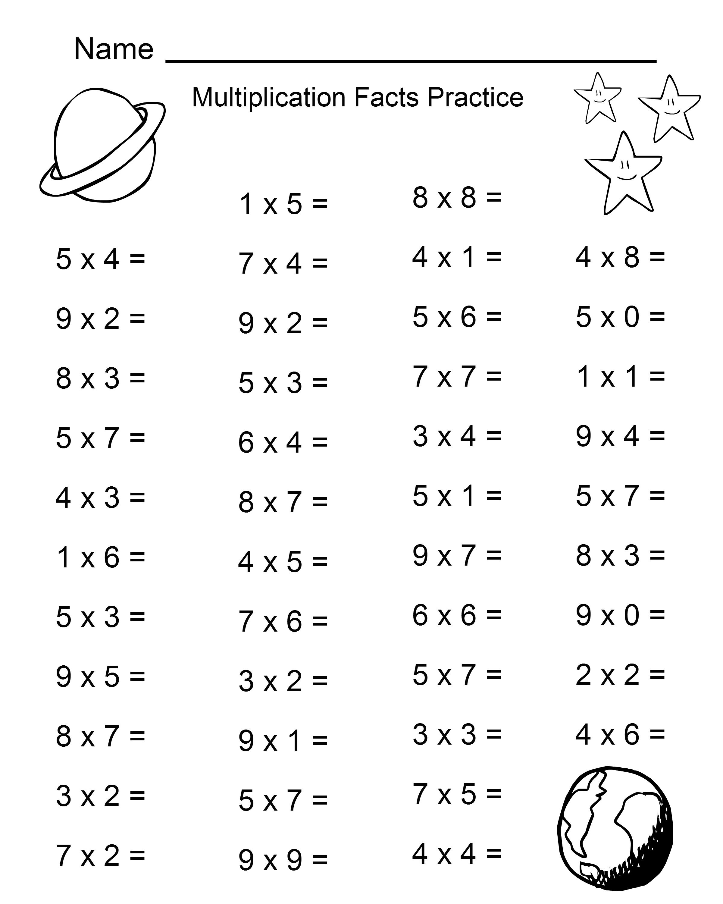 Space Theme - 4Th Grade Math Practice Sheets - Multiplication Facts - Free Printable Multiplication Fact Sheets