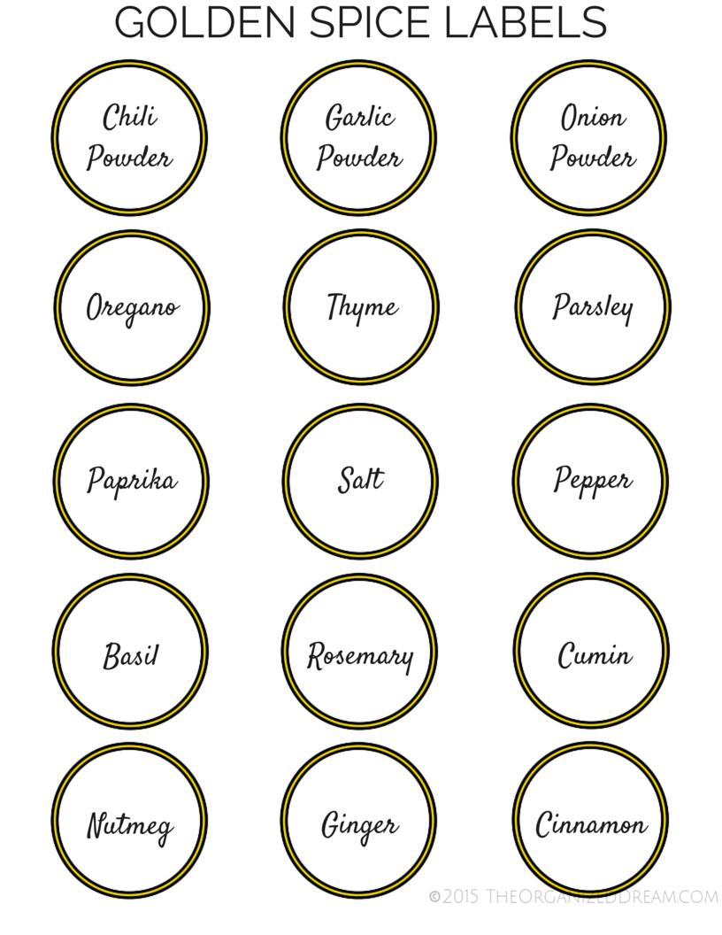 Spice Organizing Ideas And Free Labels - The Organized Dream - Free Printable Spice Labels