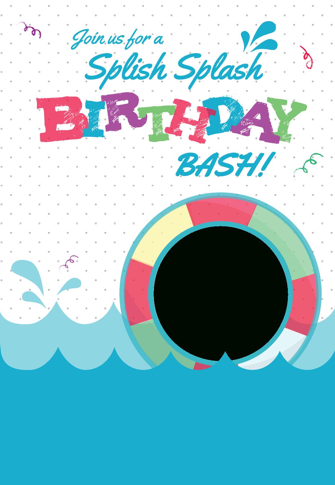 Splish Splash - Free Printable Summer Party Invitation Template - Free Printable Pool Party Invitation Cards
