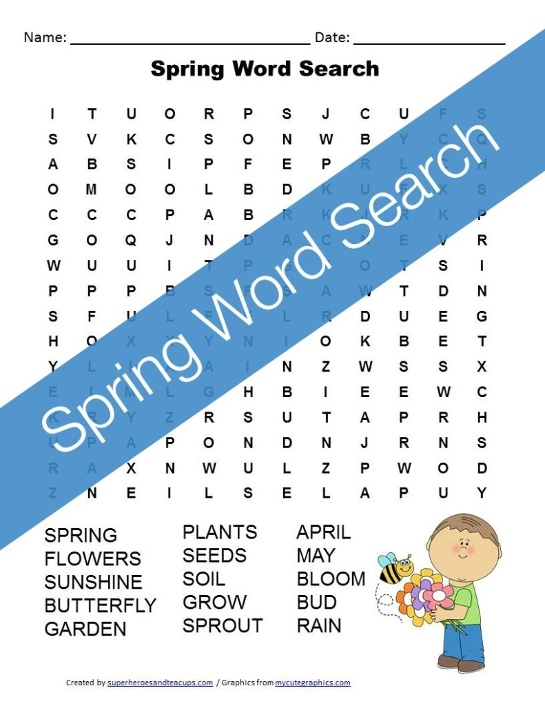 Spring Word Search Free Printable For Kids - Free Search A Word Printable