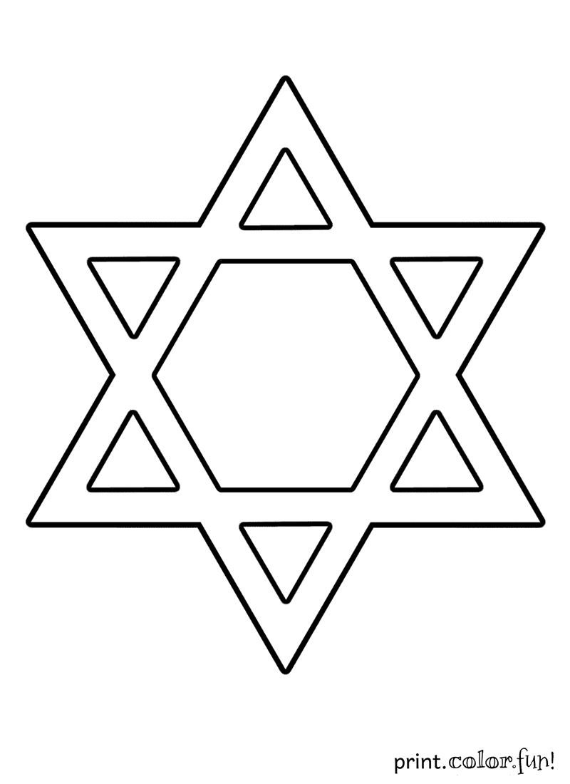 Star Of David Coloring Page - Print. Color. Fun! - Star Of David Template Free Printable