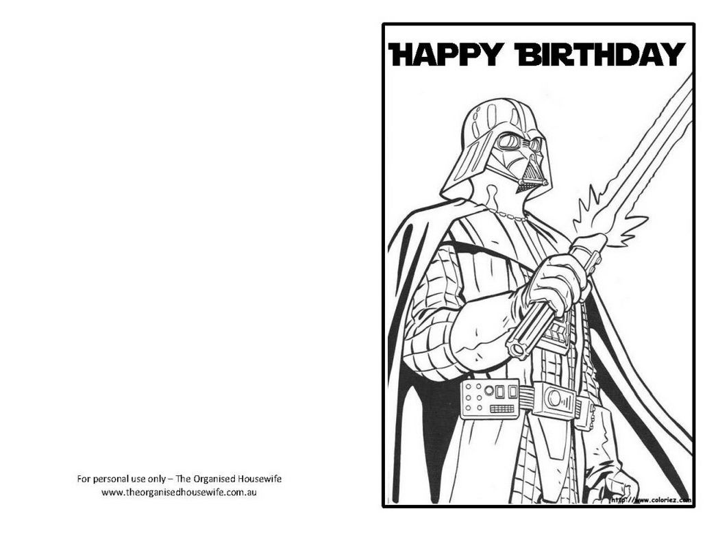 Star Wars Happy Birthday Card Coloring Pages | Projects To Try - Star Wars Printable Cards Free