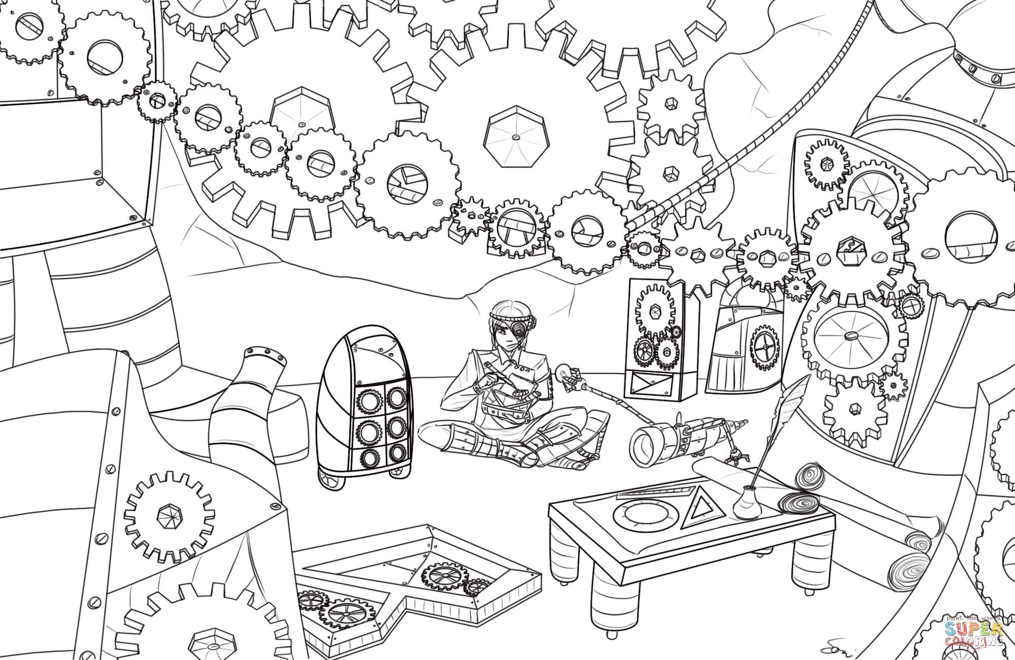 Steampunk Gears Coloring Page | Free Printable Coloring Pages - Free Printable Gears