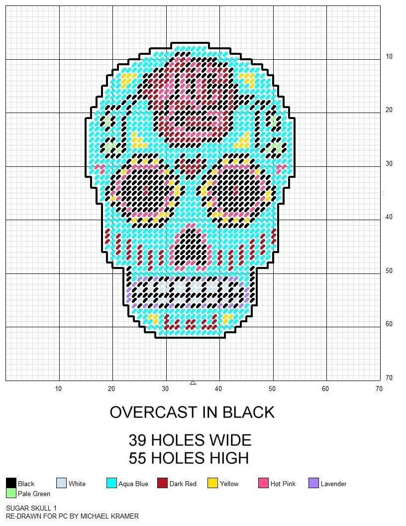 Sugar Skull Plastic Canvas Pattern | Various Plastic Canvas Patterns - Printable Plastic Canvas Patterns Free Online