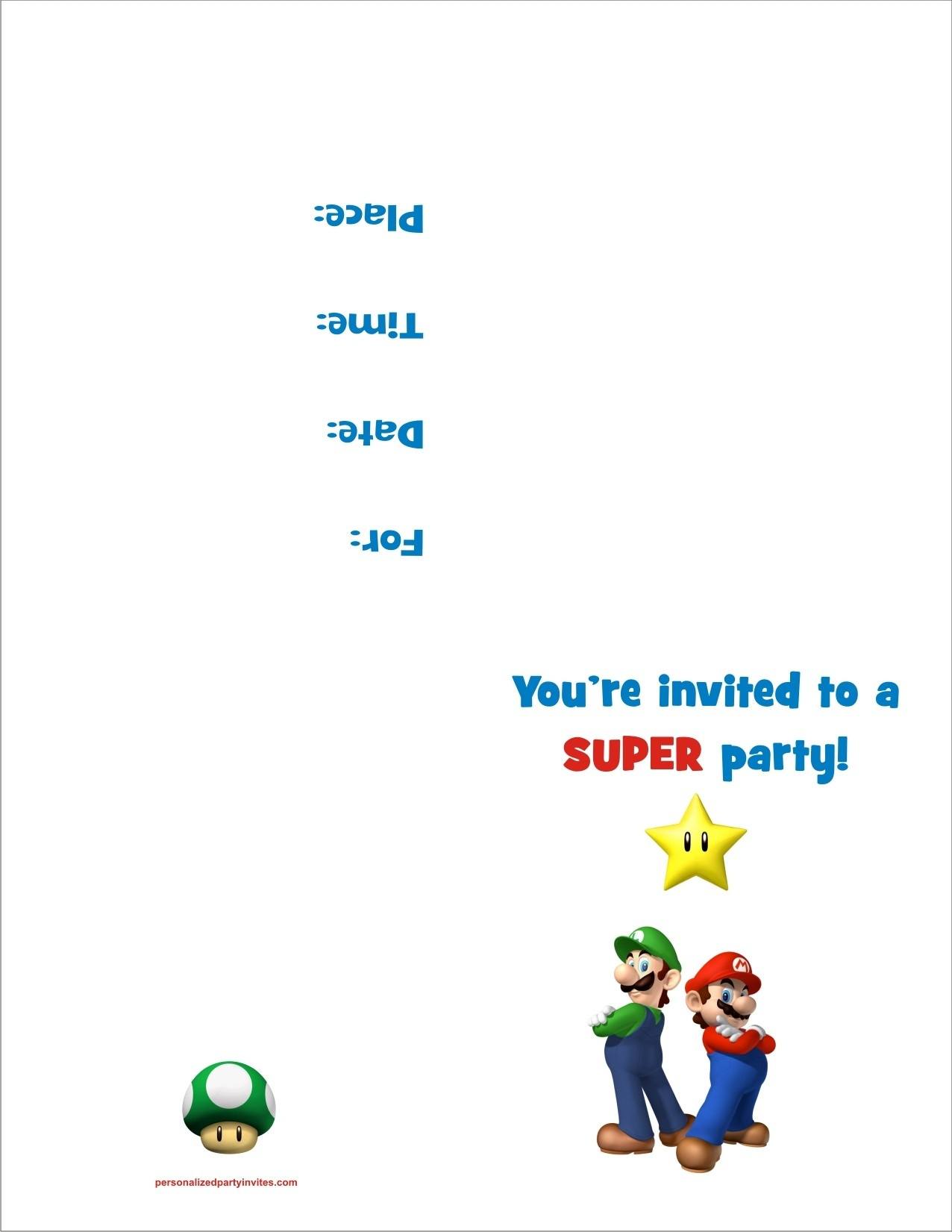 Super Mario Bros Free Printable Birthday Party Invitation - Free Printable Super Mario Bros Invitations