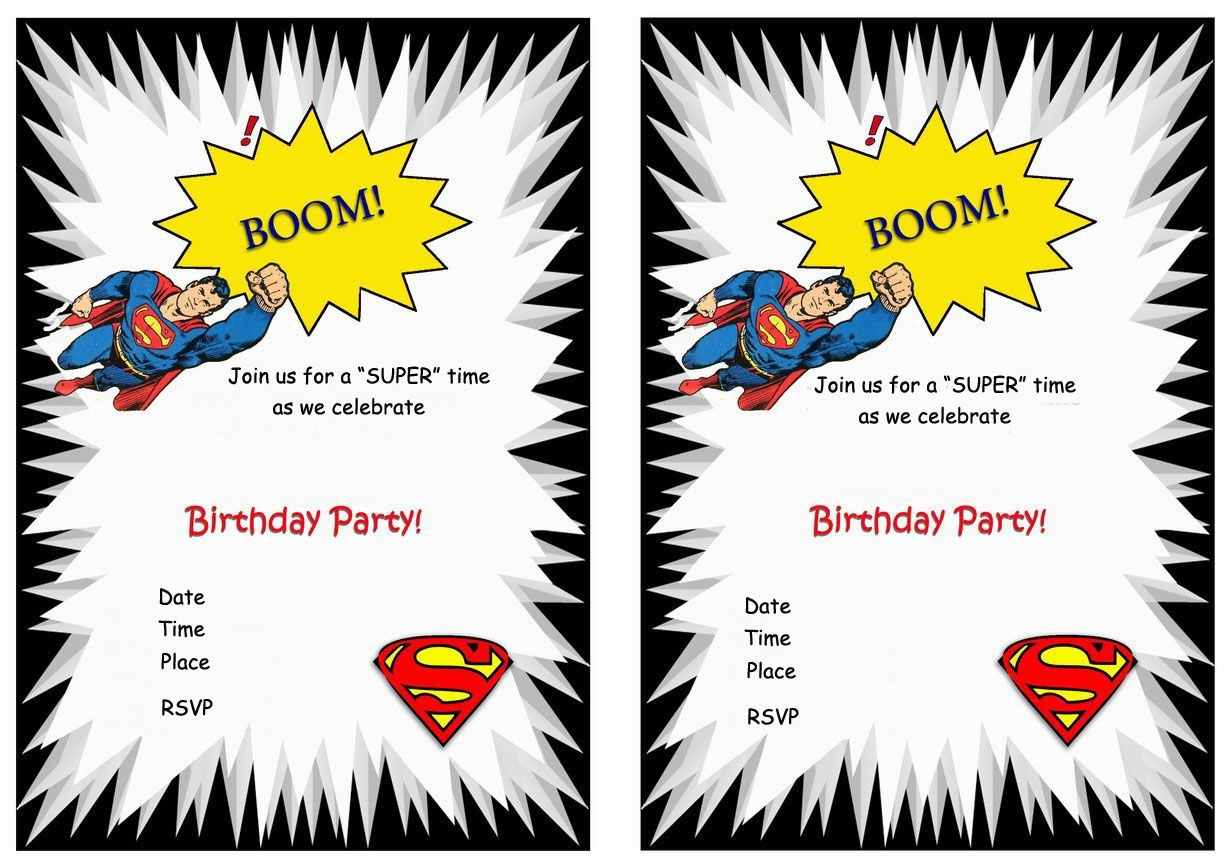 Superman Free Printable Birthday Party Invitations | Birthday Party - Free Printable Superman Invitations