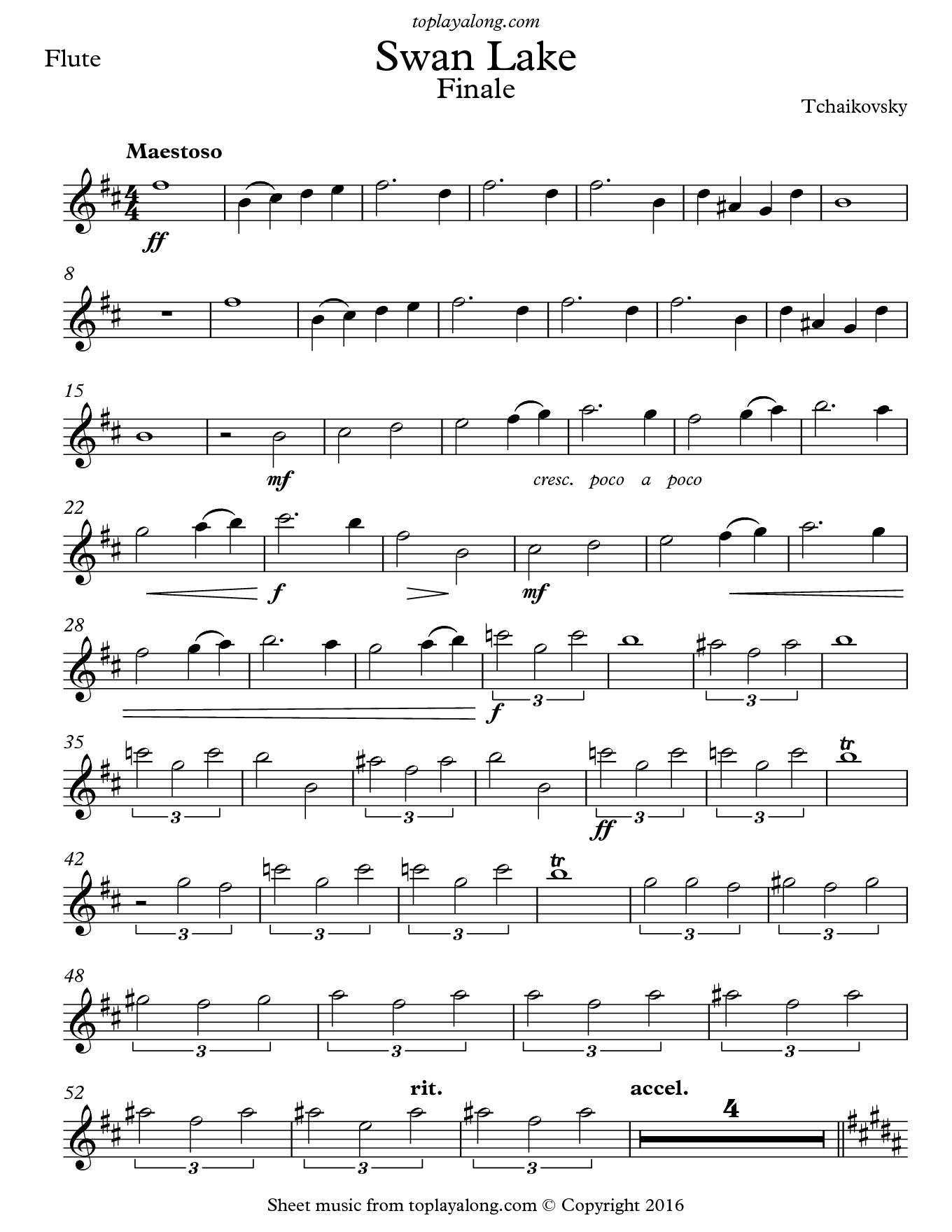 Swan Lake Finale – Toplayalong - Free Printable Flute Sheet Music