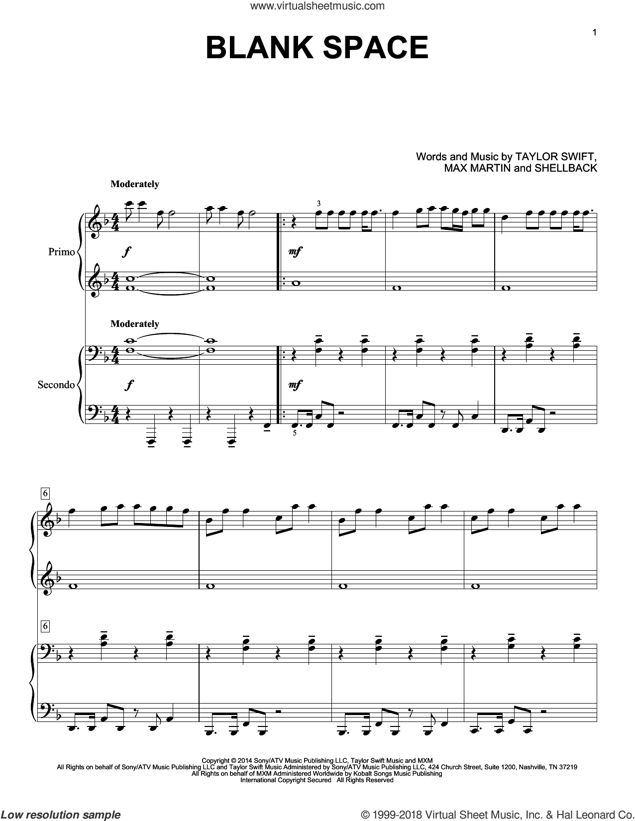 Swift - Blank Space Sheet Music For Piano Four Hands [Pdf] - Taylor Swift Mine Piano Sheet Music Free Printable