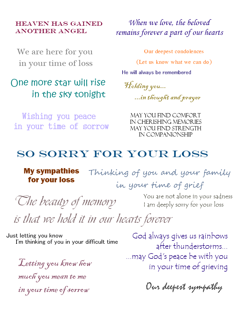 Sympathy Cards   Verses For Sympathy Cards That Express Your Deepest - Free Printable Sympathy Verses
