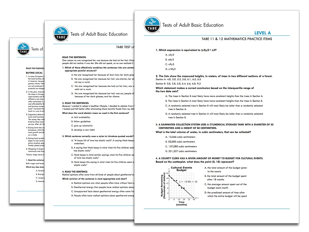 Tabe 11&12 Sample Practice Items   Tabetest   Tabetest - Ged Reading Practice Test Free Printable