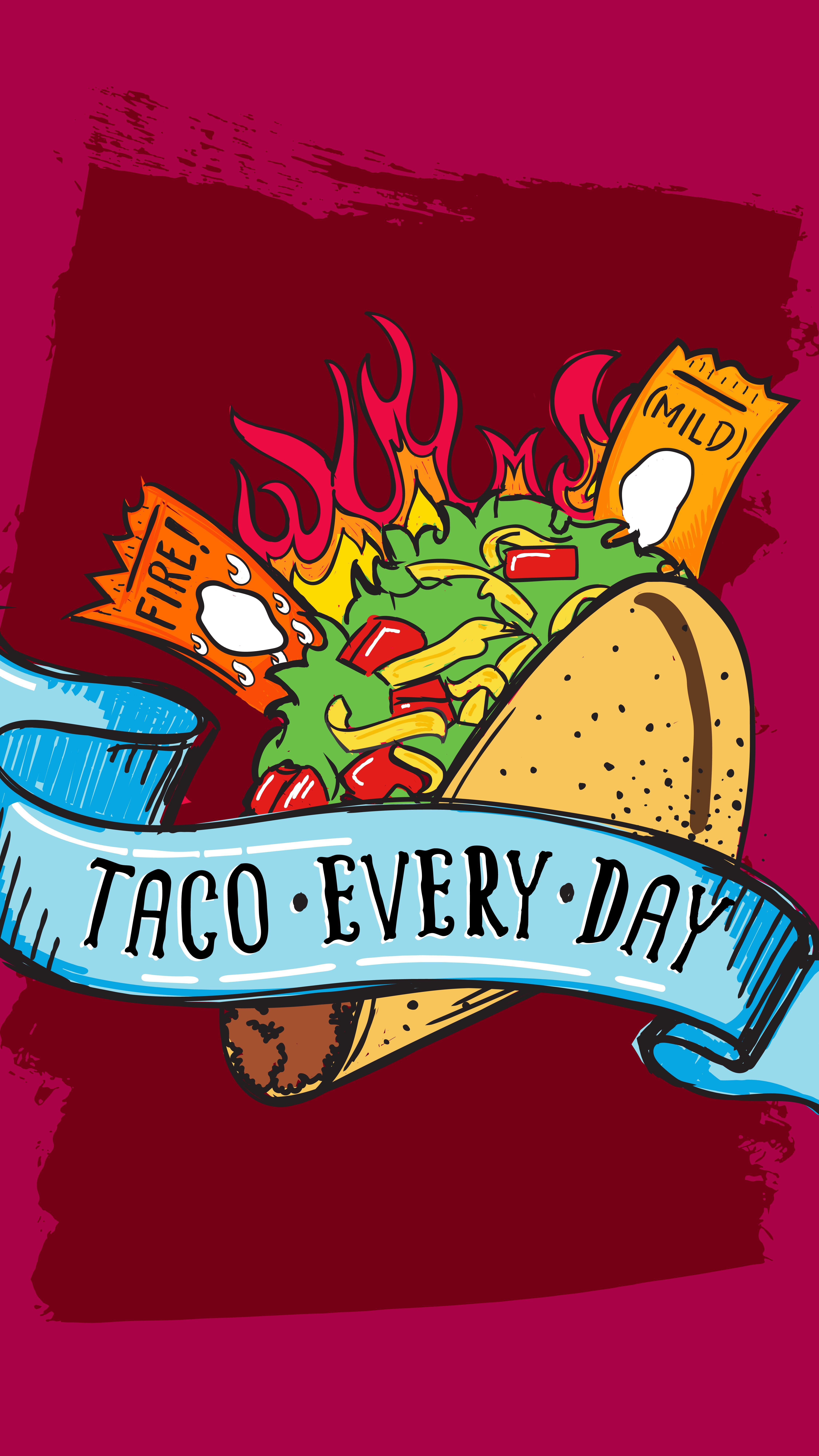 Taco Every Day | Phone Wallpapers In 2019 | Taco Wallpaper, Tumblr - Free Printable Taco Bell Application