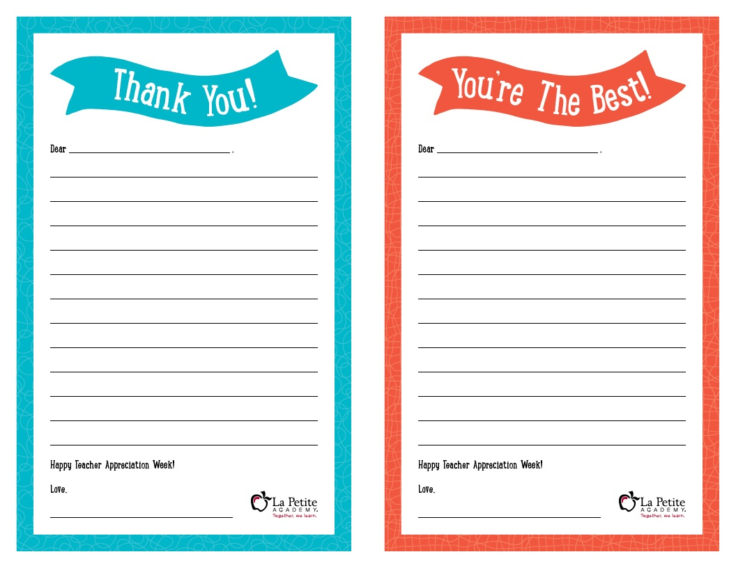 "Teacher Appreciation Week – Free Printable ""Thank You"" Notes | La - Free Printable Thank You Cards For Teachers"