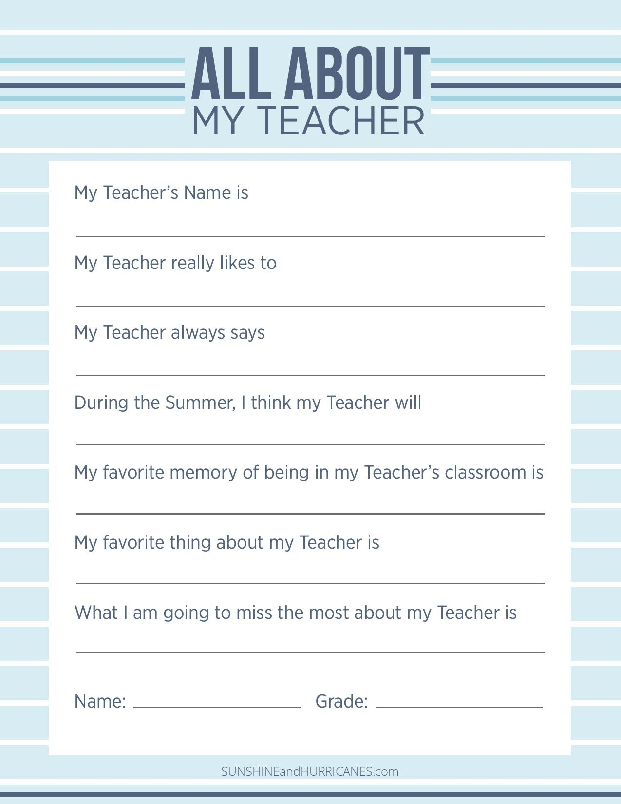 Teacher Appreciation Week Questionnaire - A Personalized Teacher Gift - Make A Printable Survey Free