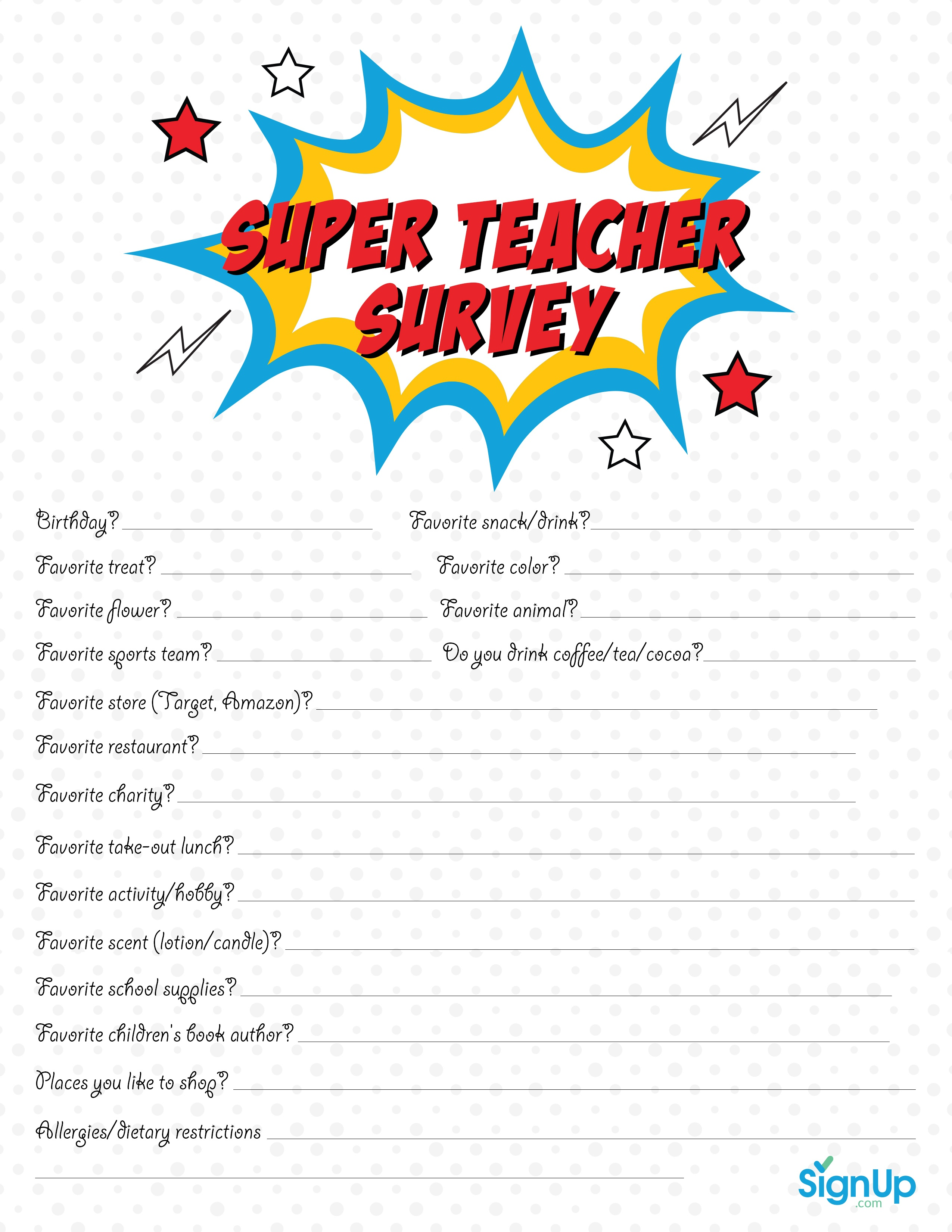 Teacher Survey: Free Downloadable Room Parent Resource | Signup - Make A Printable Survey Free