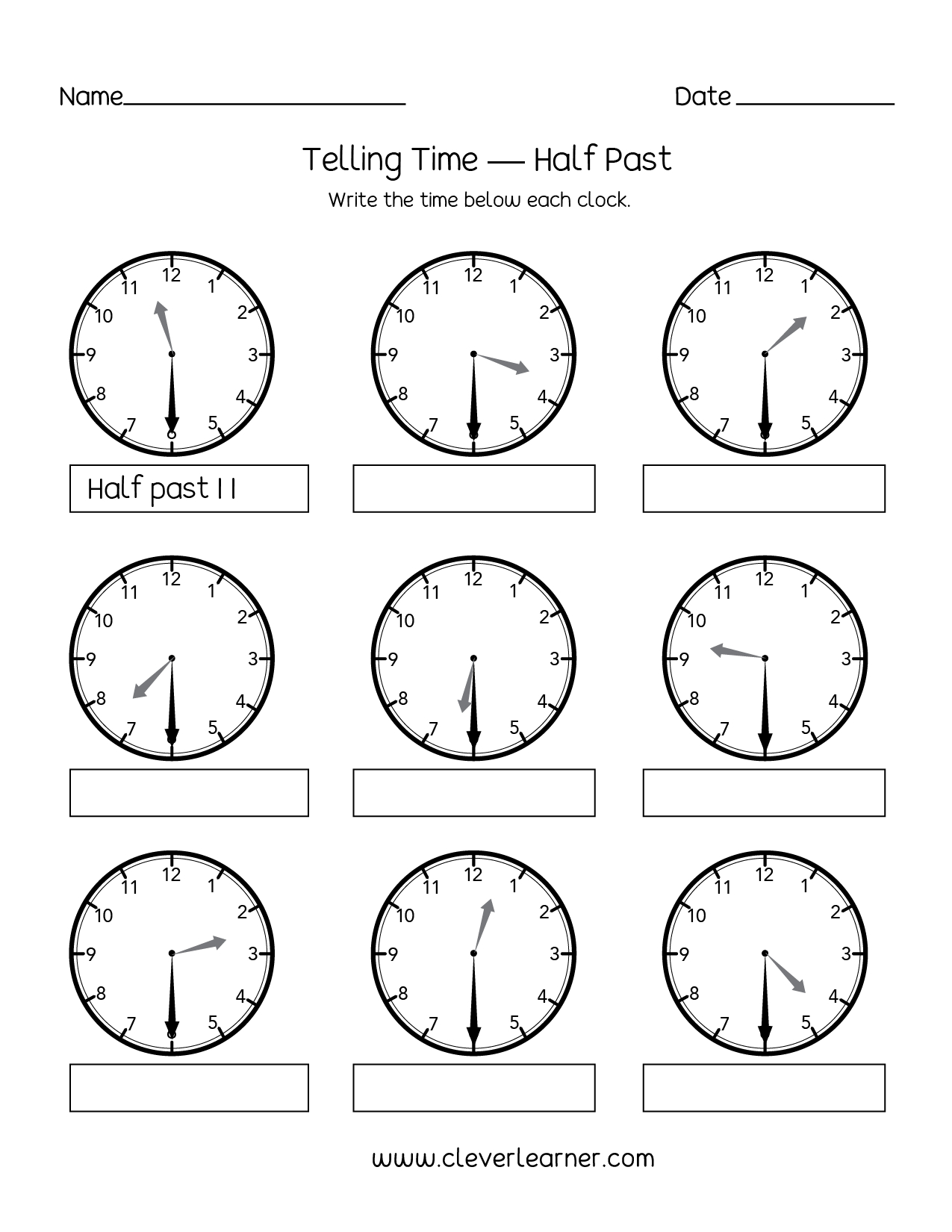 Telling Time Half Past The Hour Worksheets For 1St And 2Nd Graders - Free Printable Telling Time Worksheets For 1St Grade