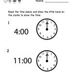 Telling Time Worksheet   Free Kindergarten Math Worksheet For Kids   Free Printable Time Worksheets For Kindergarten
