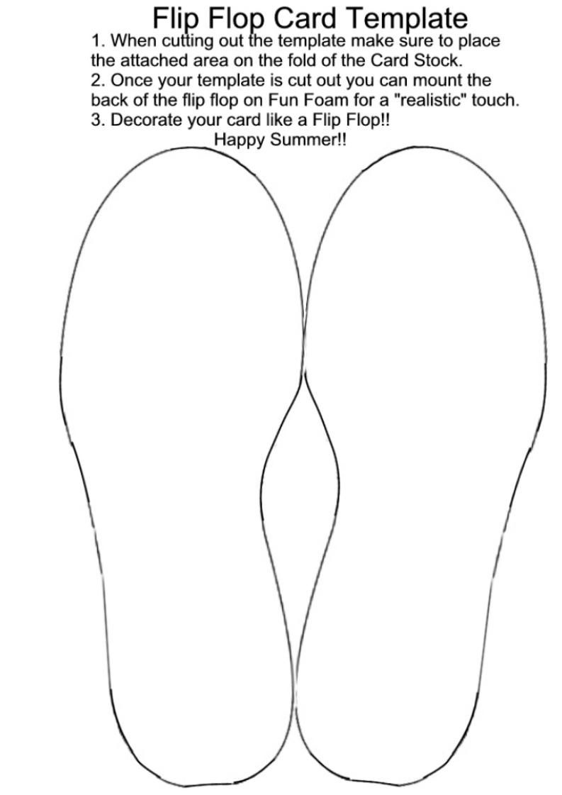 Template | Card Templates And Techniques | Card Templates, Templates - Free Printable Flip Flop Pattern
