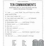 Ten Commandments Worksheet For Kids | Worksheets For Psr | Bible   Free Printable Bible Games For Kids
