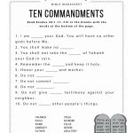 Ten Commandments Worksheet For Kids | Worksheets For Psr | Bible   Free Printable Bible Games For Youth