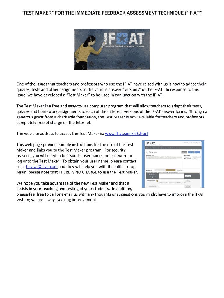 Test Maker For The Immediate Feedback Assessment Technique (If-At - Free Printable Test Maker For Teachers