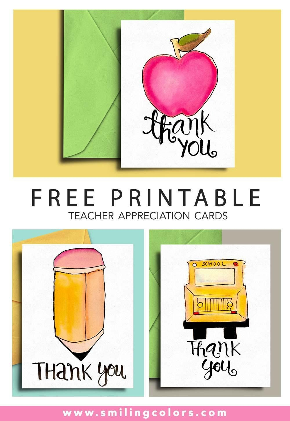 Thank You Card For Teacher And School Bus Driver With Free - Free Printable Teacher Appreciation Cards