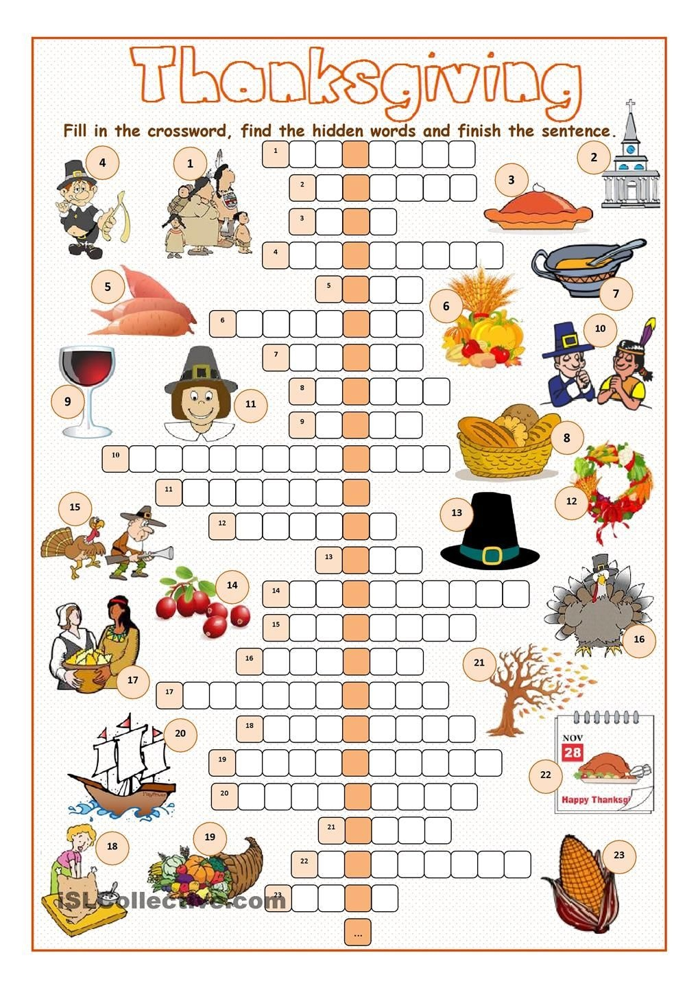 Thanksgiving Crossword Puzzle | Spanish Learning | Cours Anglais - Thanksgiving Crossword Puzzles Printable Free