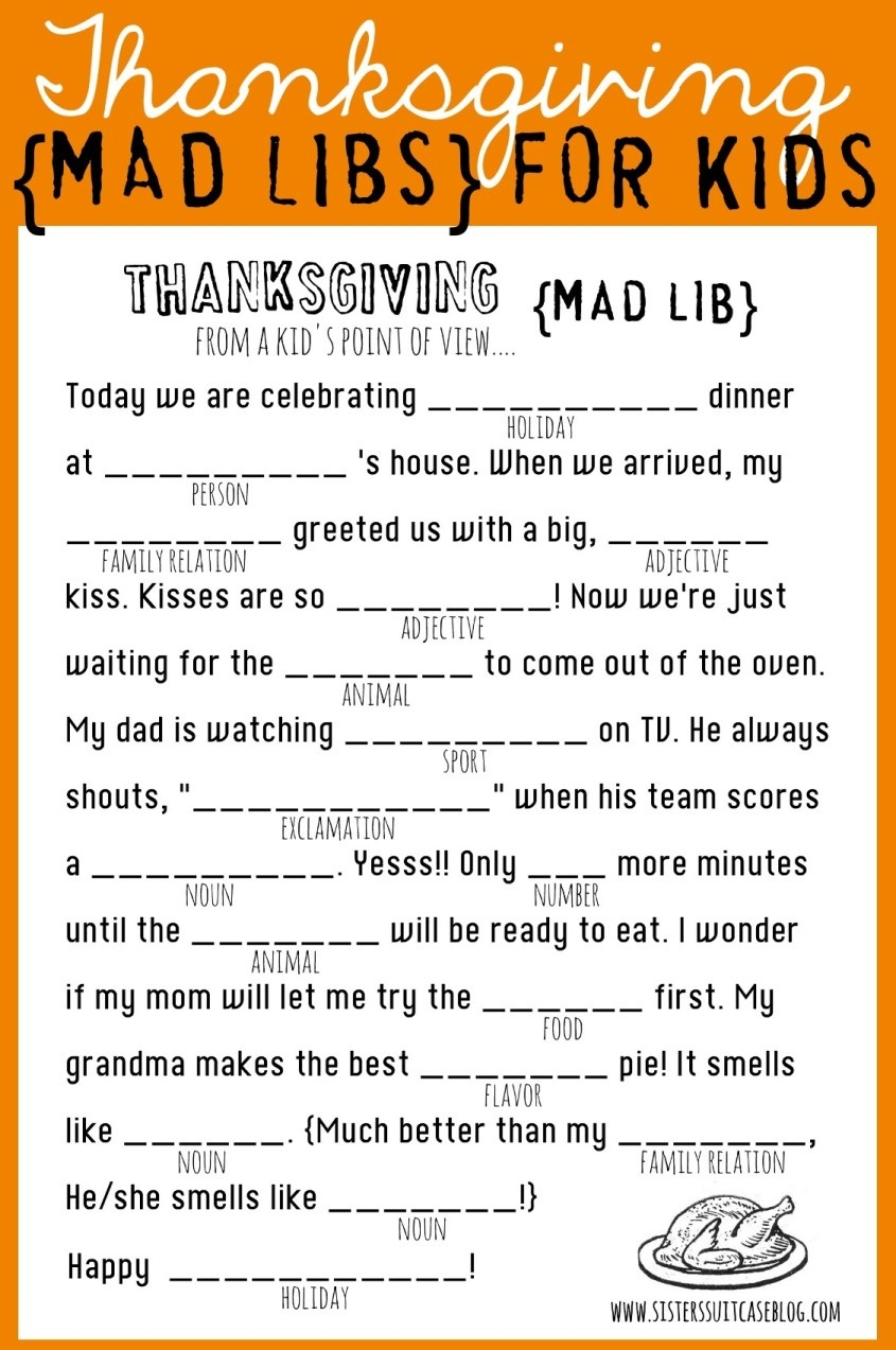 Thanksgiving Mad Libs Printable - My Sister's Suitcase - Packed With - Free Printable Thanksgiving Mad Libs