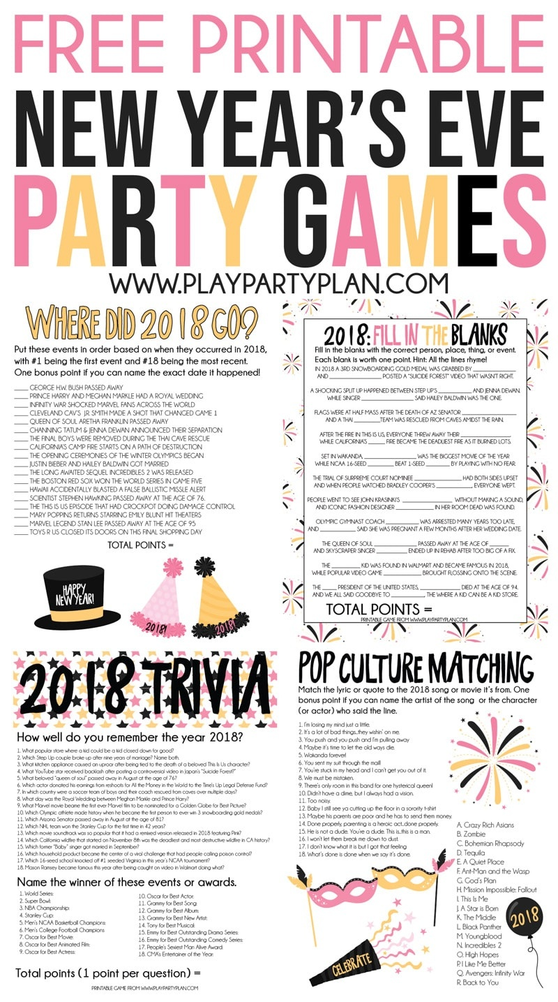 The Best 2018 New Year's Eve Games - Play Party Plan - Free Printable Trivia Questions For Seniors